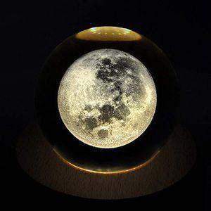 3D Mond Kristallkugel Glaskugel Fotokugel Wahrsagerkugel für Wohnkultur