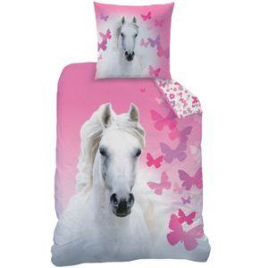 Bettwäsche mit Pferd weiß Butterfly 135 x 200 cm 80 x 80 cm