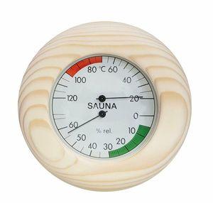 SudoreWell Sauna Thermo- Hygrometer im Holzrahmen Ø 145mm