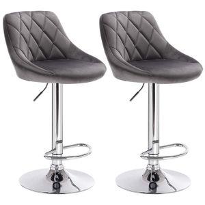 WOLTU 2er-Set Barhocker Barstuhl mit gepolsterter Sitzfläche aus Samt , höhenverstellbar drehbar, Dunkelgrau