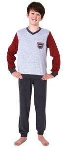 Toller Jungen Frottee Pyjama langarm Schlafanzug mit Bündchen - 212 501 13 802, Farbe:dunkelgrau, Größe:158-164