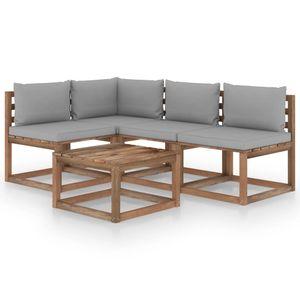 vidaXL 5-tlg. Garten-Lounge-Set mit Grauen Kissen