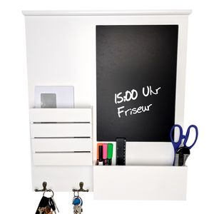 Wohaga® Wandorganizer 'Blackboard' mit Tafel, Ablagen und Metallhaken Weiß