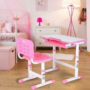 Kinderschreibtisch Schülerschreibtisch Set mit Stuhl  rosa Zeichentisch Schublade Tische Höhenverstellbar 045°