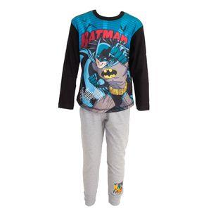 Batman Kinder Comic Langarm Top Pyjama 194 (9-10 Jahre (140)) (Blau/Grau)