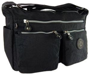leichte hochwertige Umhängetasche Schultertasche Tasche mit vielen Fächern     schwarz
