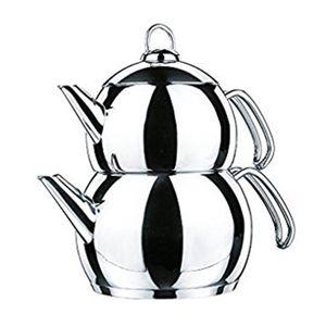 Korkmaz Tombik Teekanne 3.1l Teekocher Caydanlik Tea Pot Set A104 Edelstahl 4-Teilig