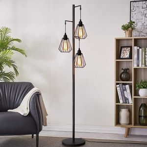 Vintage Stehleuchte Stehlampe im Industrial Design Standleuchte aus Eisen Retro Stehleuchte E27 Fassung max 40W, Höhe: 163cm - ohne Leuchtmittel