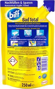 Biff Bad Total Zitrus Badreiniger Reiniger Reinigungsmittel 6x250ml Nachfüllpack