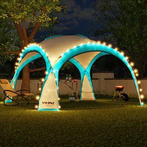 LED Event Pavillon 3,6 x 3,6m DomeShelter Garten Pavillion inkl. Solarmodul Pavilion Designer Gartenzelt Camping Pavilon Partyzelt mit Beleuchtung - türkis