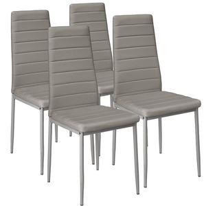 tectake 4 Esszimmerstühle, Kunstleder - grau