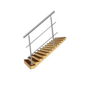 LZQ Edelstahl-Handlauf Geländer für Treppen Brüstung Balkon mit/ohne Querstreben (160cm, 2 Querstreben)