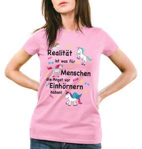 style3 Realität ist was für Menschen die Angst vor Einhörnern haben Damen T-Shirt Unicorn Einhorn, Farbe:Pink, Größe:XL