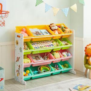 SONGMICS Kinderreagl mit 16 PP-Kunststoffboxen 106 x 26,5 x 78 cm Spielzeug-Organizer Kinderzimmerregal orange gelb blau und grün GKR070W01