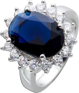 Ring Silber 925 Saphir nachtblau synthetisch Edelsteinring 17
