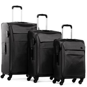 FERGÉ 3er Kofferset Calais Nylon schwarz 3er StoffKoffer Roll-Koffer 4 Rollen Kofferset 3-teilig Weichschale