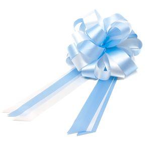 Oblique Unique Geschenkschleife mit Geschenkband Groß Deko Schleifen - hellblau weiß
