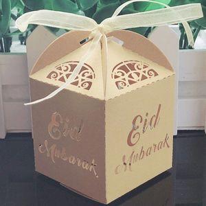 Eid Mubarak Geschenkboxen, 10 Stück, Gold, Ramadan Dekorationen DIY, Ramadan Geschenkbox, Eid Mubarak, Papier-Geschenktüte, Muslimische Islamische Partyzubeh