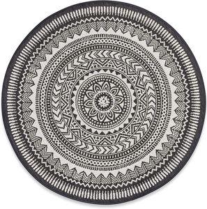 Runder Teppich 100 cm. Teppich rund mit Fransen rutschfest, handgewebt und pflegeleicht - Böhmisches Mandala Muster Baumwollteppich