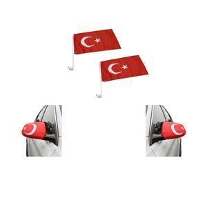 """Fan-Paket-3 """"Türkei"""" Turkey Türkiye WM EM Länder Fußball Flaggen Fahren Autoset Spiegelflaggen"""