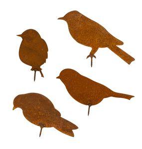 4x Metall-Vögel Gartendeko Schraubgewinde Rost-Optik