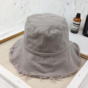 Bucket Hat Fischen Hüte Mädchen Fischer-Kappe aus gewaschenem Denim Quaste Brim Bucket Hat -(Grau,)