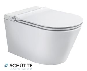 SCHÜTTE Dusch WC CESARI spülrandloser Bidet Toilettensitz, Toilette mit Bidet-Funktion und Ladydusche, WC Sitz mit Absenkautomatik Weiß