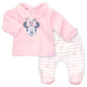 Disney Baby Mädchen Velours Set Shirt Hose Minnie Mouse Streifen rosa 50 (Neugeborene)