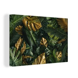 Leinwandbild - Blätter - Muster - Abstrakt - 150x100 cm - Foto auf Leinwand - Gemälde auf Holzrahmen