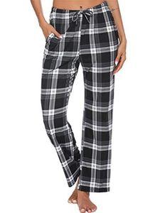 y Dance Damen Plaid Gedruckt Schlafhosen Pyjamas Hosen Elastische Taille Homewear,Farbe:Schwarz,Größe:L