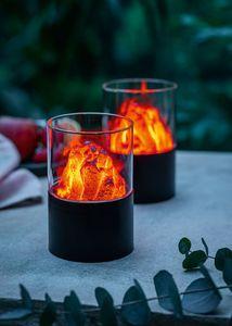 LED-Leuchte 'Lava' toller Flammeneffekt abnehmbarer Glaszylinder batteriebetr.