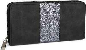 styleBREAKER Geldbörse mit umlaufendem Pailletten Streifen, Reißverschluss, Portemonnaie, Damen 02040056, Farbe:Grau-Anthrazit