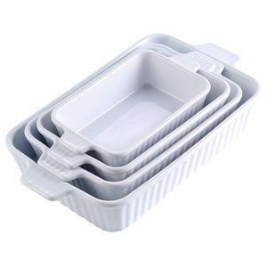 MALACASA, Serie Bake.Bake, 4 teilig Set Porzellan Backform Auflaufform Ofenform, Eckig, Weiß