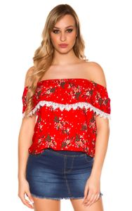 Flower Print Carmen Off Shoulder Shirt Volant Spitze, Farbe: Rot, Größe: S/M