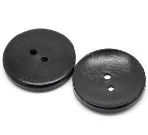 30 Schöne Holzknöpfe schwarz, 30 mm 2-Loch-Knopf Knopf Knöpfe Holz