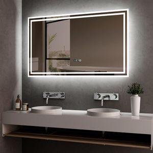 Meykoers LED Badspiegel 100x60cm Beleuchtung Badezimmerspiegel Wandspiegel mit Touch-Schalter, Uhr