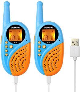 Retevis RT35 Walkie Talkies für Kinder, 2 Pack Kinder Funkgerät mit Wiederaufladbarer Akkus VOX Taschenlampe, Spielzeug Geschenken für Kinder