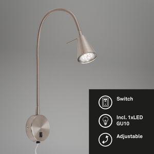 LED Bettlampe Flexarm An-/Ausschalter Metall 4W Matt-nickel Briloner Leuchten