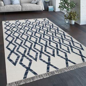 Teppich Wohnzimmer Boho Stil Fransen Handgewebt Woll-Baumwoll Gemisch Blau, Grösse:120x170 cm
