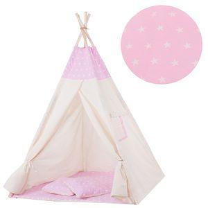 Tipi Zelt Kinder Spielzelt Baumwolle 2 Kissen Kinderzelt 160x120x100 cm - Rosa/Sterne