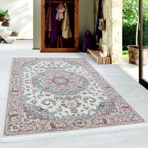 Orientteppich Kurzflor Teppich Orient Medaillon Optik Baumwollrücken Ivory, Farbe:Creme, Grösse:300x400 cm