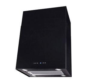 SAND IS60S ECO 60cm, schwarz lackierte Dunstabzugshaube der Marke F.BAYER, Inselhaube mit Drucktastensteuerung und Display, 700m³/h, EEK B, LED