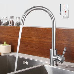 Lonheo Niederdruck Wasserhahn Küche Armatur aus Edelstahl, 360° Schwenkbar Küche Mischbatterie Einhebelmischer, Chrom