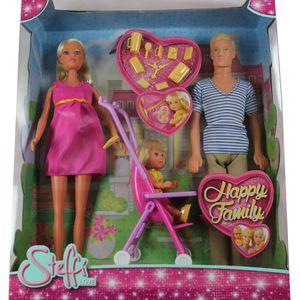 Simba 105733200 Steffi Love Happy Family schwanger mit Kevin, Evi und Zubehör