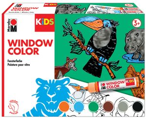 "Marabu KiDS Window Color-Set ""DSCHUNGEL"" 6 x 25 ml Fenstermalfarbe für Kinder"