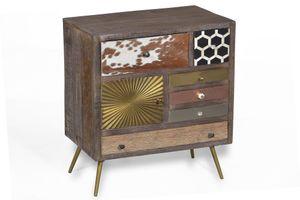 SIT Möbel Kommode | 1 Tür, 6 Schubladen | Mango, Kuhfell, Altholz | Beine Metall messing-farben | B 75 x T 35 x H 80 cm | 13355-95 | Serie PEETAL