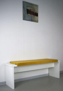 L Klemm-Kissen / Sitz-Kissen 115cm breit weich gepolstert - verrutscht nicht - Samtbezug Bankauflage, Farbe:senf