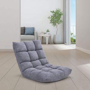 GOPLUS Bodenstuhl, Floor Chair Farbewahl, Meditationsstuhl Faltbar, Bodensofa mit Einstellbarer Rückenlehne,18 Faule Sofa (Grau)