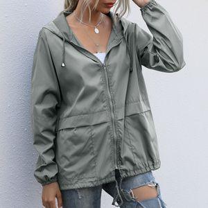 Frauen Hooded Waterproof Zipper Windproof Waterproof Raincoat Jacket Größe:S,Farbe:Grau