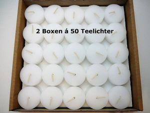 100 Teelichter ohne Hülle (2x50 Stk.) Weiß Rohlinge 4 Stunden Brenndauer